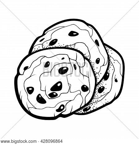American Dessert Chocolate Chip Cookies. Outline Doodle Style Illustration For Cafe, Bakery, Restaur