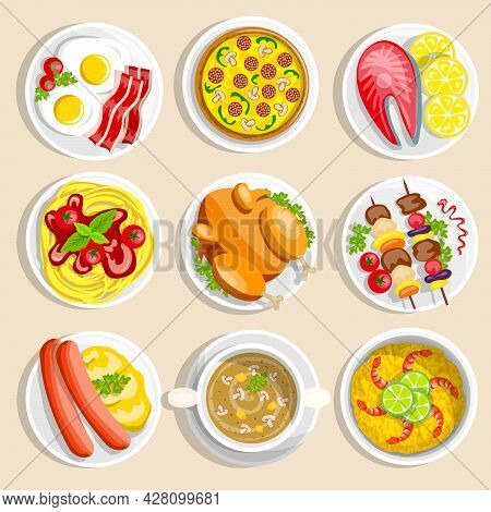 Main Dishes Set With Traditional Food Dinner Breakfast Eggs Chicken Pizza Pasta On The Plate Vector