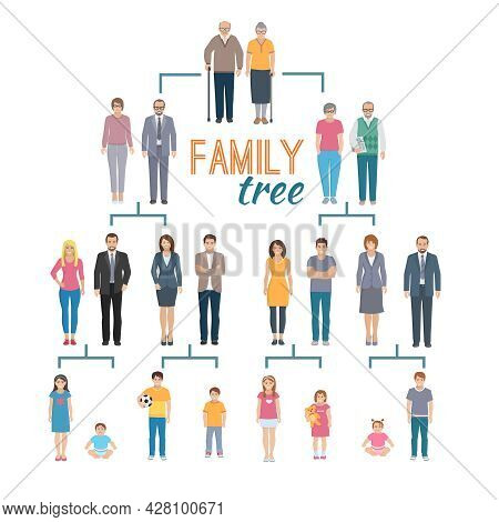 Decorative Flat Illustration Of Genealogy Tree Chart Depicting Icons Of Family Members Vector Illust