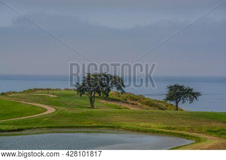 A Beautiful View Of A Golf Course In Goleta, Santa Barbara County, California