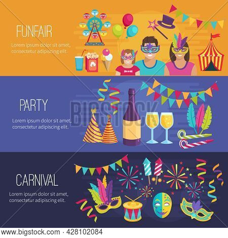 Horizontal Color Flat Banners Depicting Elements Of Carnival Funfair Party Vector Illustration