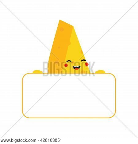 Cute And Smiling Cartoon Style Cheese Chunks, Dairy Products Character Holding In Hands Blank Card,