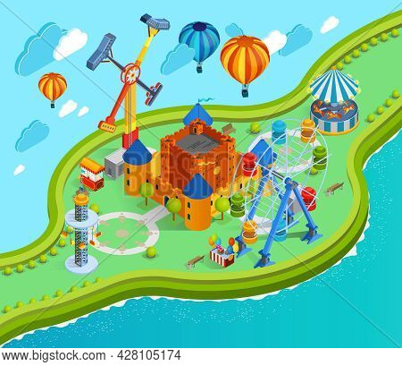 Amusement Park Isometric Cartoon Composition With Giant Swing Colorful Aerostats With Baskets Ferris