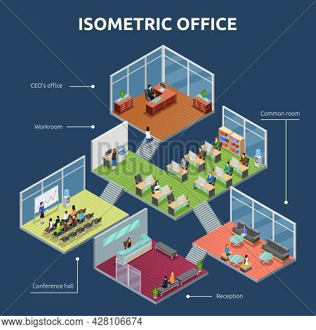 Isometric Business Organization Office 3 Storey Building Plan Interior View Dark Background Poster A