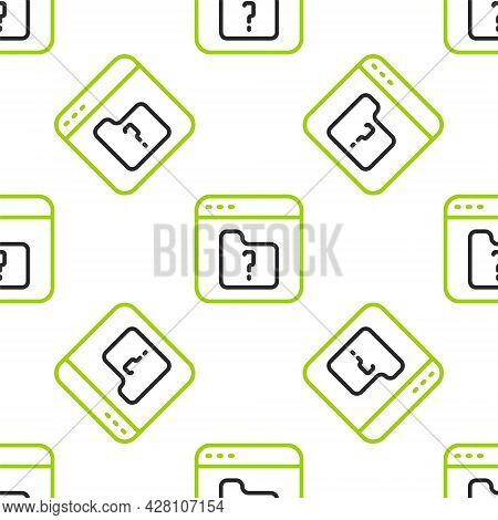 Line File Missing Icon Isolated Seamless Pattern On White Background. Vector