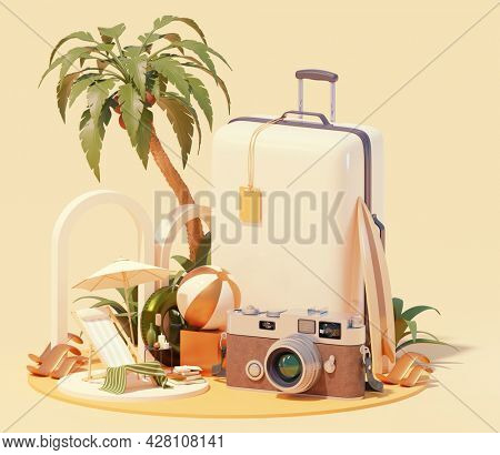 Summer travel and beach vacations. Deck chair under the palm tree, surfing board, retro camera, floatie and beach ball, trolley suitcase. Holidays and vacations on the beach. 3d illustration