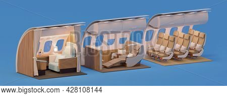 Airplane interior cross-section. First and business chairs and economy class seats. Passenger aircraft with Cabins of the different travel classes. 3d illustration