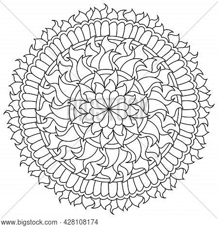 Contour Mandala With Floral Elements, Zen Coloring Page In The Shape Of A Circle With Patterns Vecto
