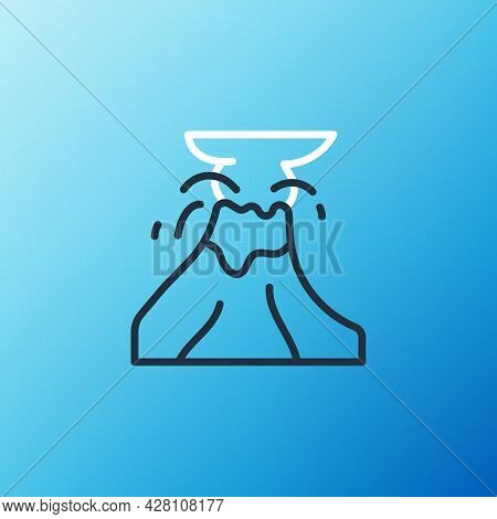 Line Volcano Eruption With Lava Icon Isolated On Blue Background. Colorful Outline Concept. Vector