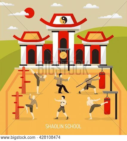 Chinese Temple Martial Arts Composition With Workout Of Fighters At Combat Skill School At Outdoor
