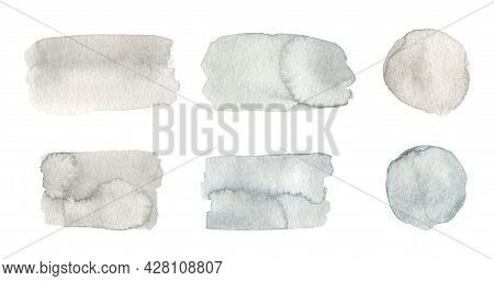 Set Of Abstract Watercolor Stains Of Gray Color Isolated On White Background. Spilled Blots Of Paint