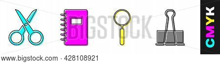 Set Scissors, Spiral Notebook, Magnifying Glass And Binder Clip Icon. Vector