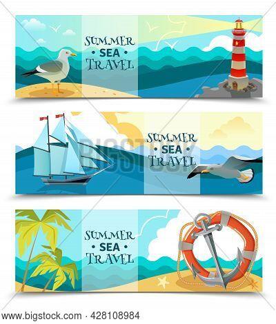 Nautical Horizontal Banners Set Of Sea Background With Sailboat Life Ring Palm Trees On Uninhabited