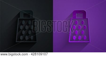 Paper Cut Grater Icon Isolated On Black On Purple Background. Kitchen Symbol. Cooking Utensil. Cutle
