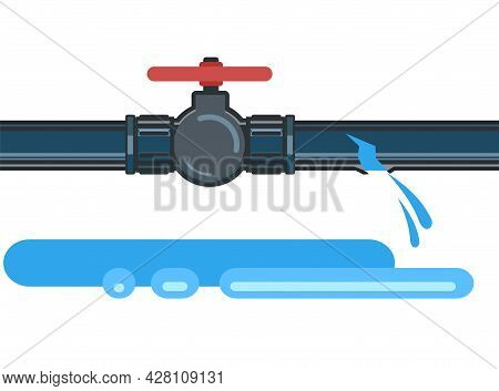 Water Fittings. Pipeline For Various Purposes. Breakthrough And Leakage Jets. Illustration Isolated