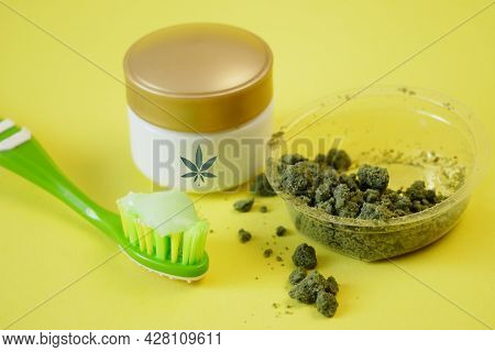 Cannabis Cream Cosmetic, Toothpaste, Soap With Marijuana Plant On Background. Cannabis Cosmetics Con