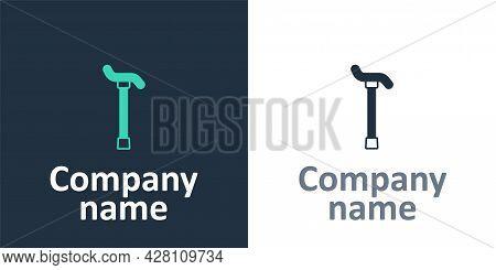 Logotype Walking Stick Cane Icon Isolated On White Background. Logo Design Template Element. Vector
