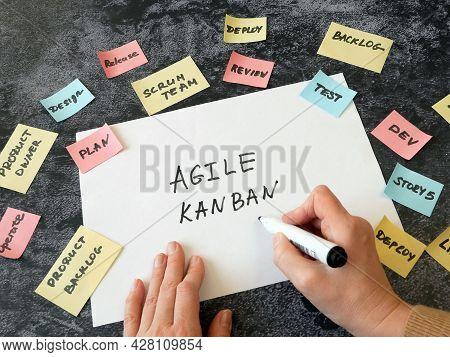 Software Scrum Agile Paper Task, Agile Software Development Methodologies Concept, Closeup