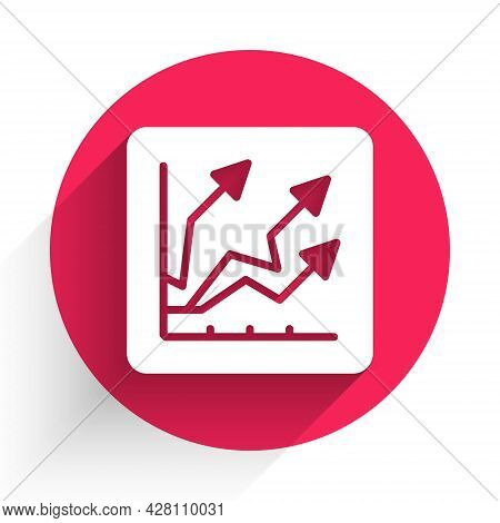 White Financial Growth Increase Icon Isolated With Long Shadow. Increasing Revenue. Red Circle Butto