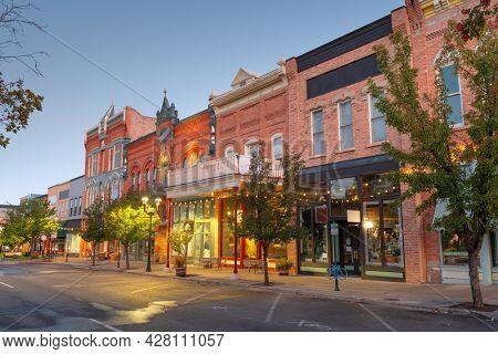 Provo, Utah, USA downtown on Center Street at dusk.