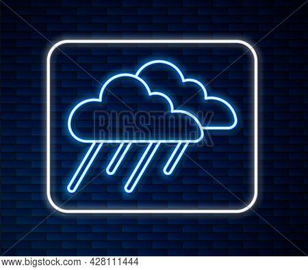 Glowing Neon Line Cloud With Rain Icon Isolated On Brick Wall Background. Rain Cloud Precipitation W