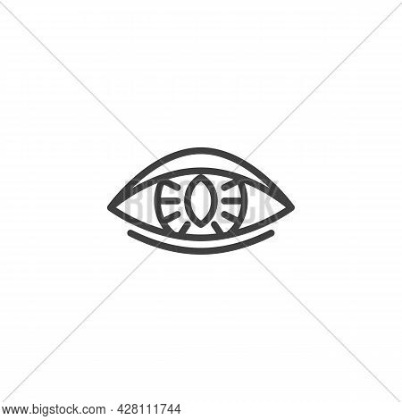 Human Eye Lens Line Icon. Linear Style Sign For Mobile Concept And Web Design. Contact Lens Outline