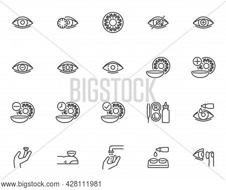 Contact Lens Line Icons Set. Linear Style Symbols Collection, Outline Signs Pack. Eye Lens Vector Gr