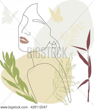 Drawing Of A Woman's Face, Fashion Concept, Minimalism Of Female Beauty With Geometric Doodles, Abst