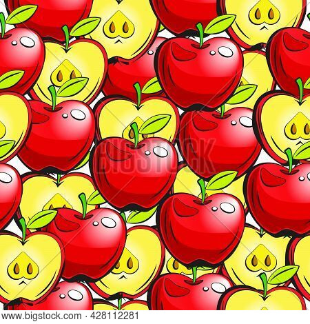 Vector Pattern With Apples And Apple Slices. Vector Illustration Isolated On A White Background. Sea