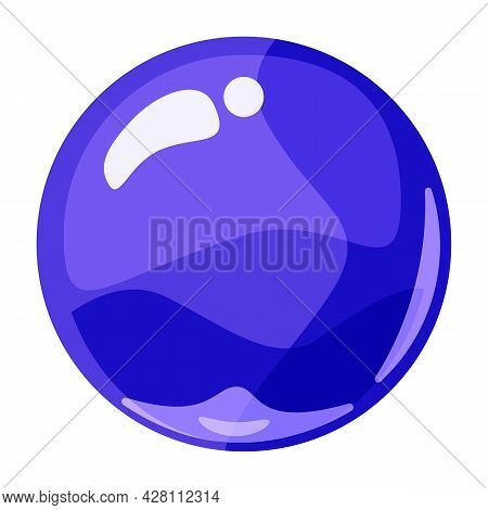 Ball Blue Shiny Glossy Colorful Game Art. Magic Crystal Glass Sphere, Bubble Shot Elements. Cartoon