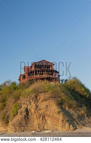 Bungalow Near The Beach, Beach Restaurant On Hill, Concept Of A House On The Rock