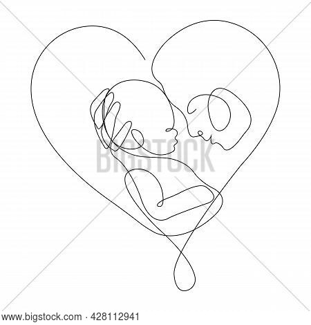 Happy Mother Hugging Her Child In Her Heart. Concept Of Tenderness, Love And Motherhood. Family Plan