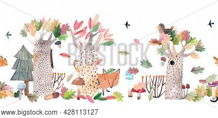 Fox in the autumn forest among the fallen leaves. Watercolor landscape. Children's horizontal poster. Horizontal border. Seamless pattern.