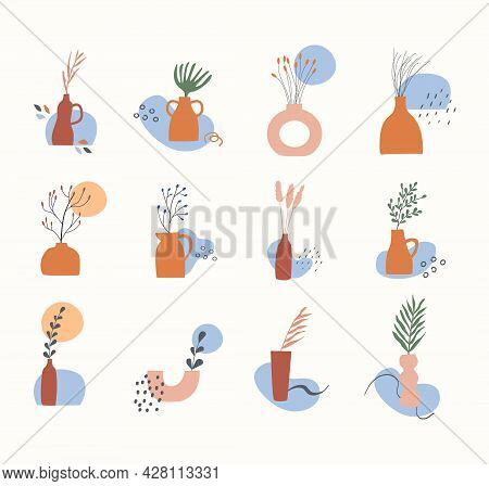 Set Of Clay Vases With Potted Dry Plants, Leaves, Branches And Abstract Geometric Shapes. Trendy Boh