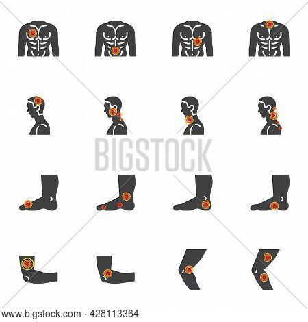 Body Pain And Injury Vector Icons Set, Modern Solid Symbol Collection, Pain Point Filled Style Picto