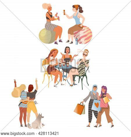 Female Friends Spending Time Together Doing Sport In Gym, Shopping And Gossiping In Cafe Vector Set