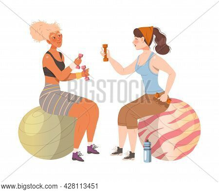 Female Friend Spending Time Together Sitting On Fitball In Gym Doing Sport And Gossiping Vector Illu