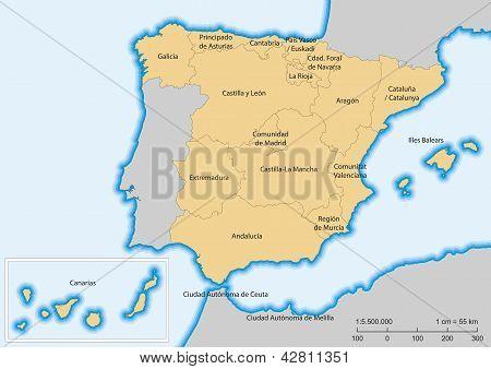 Spain Map Autonomous Communities
