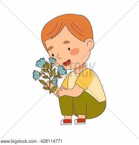Cute Redhead Boy Holding Flower Smelling Aroma And Fragrance Vector Illustration