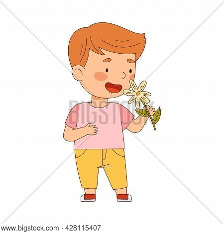 Cute Redhead Boy Holding Flower Bouquet Smelling Aroma And Fragrance Vector Illustration