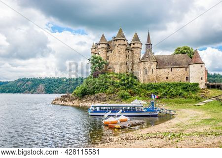 Cantal, France - June 22,2021 - View At The Cateau De Val At Dordogne River Bank. Chateau De Val Is