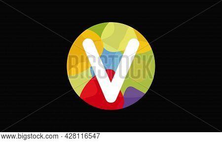 Colorful Letter V Logo Design Vector Template. Abstract Technology Letter V Logo Design
