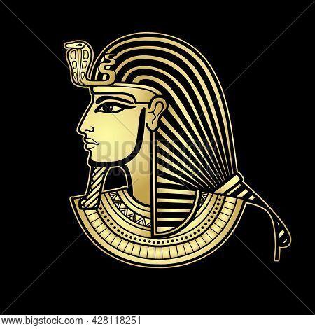 Animation Portrait Egyptian Man In The Royal Headscarf. Profile View. Gold Imitation. Vector Illustr