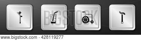 Set Crutch Or Crutches, Glass With Water, Wheelchair And Walking Stick Cane Icon. Silver Square Butt