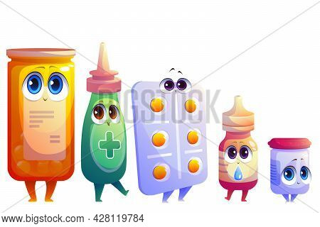 Cartoon Pills, Drugs And Medicine Kawaii Characters. Pharmaceutical Medicament Mascots With Cute Fac