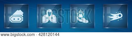 Set Ticket, Mantle, Cloak, Cape, Hand Holding Fire And Fireball. Square Glass Panels. Vector