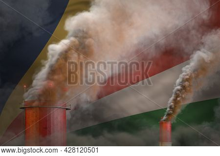 Heavy Smoke Of Factory Chimneys On Seychelles Flag - Global Warming Concept, Background With Space F
