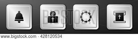 Set Church Bell, Donation For Church, Crown Of Thorns And Flag With Christian Cross Icon. Silver Squ
