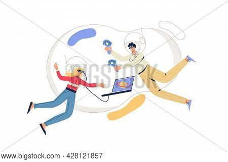 Cyberspace Web Concept. Man And Woman In Vr Glasses Fly In Virtual Reality. Interactive Gaming, Trai
