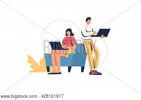 Girl And Boy Surfing Internet Web Concept. Teenagers Browsing News Feed On Social Network, Relaxing,